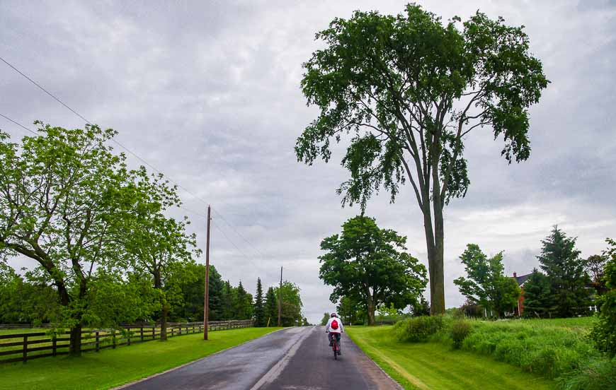 Quiet back roads are the hallmark of a Peterborough cycling trip