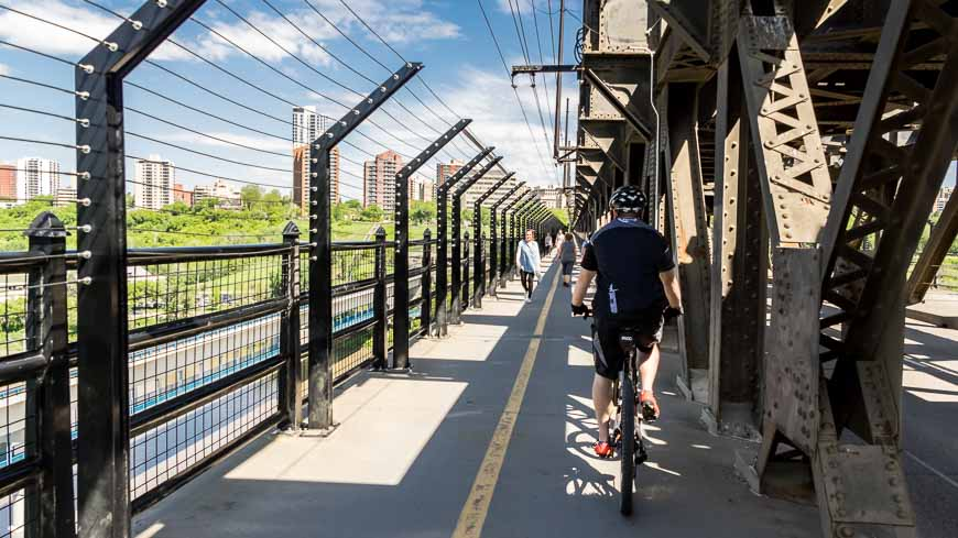 Biking Across The High Level Bridge In Edmonton