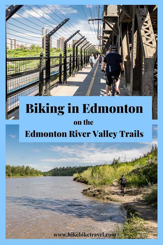 Biking in Edmonton on the Edmonton River Valley trails