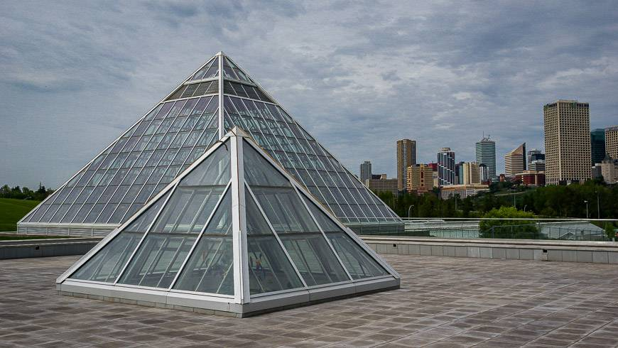 e of the best views of the Edmonton skyline is from the roof of the Muttart Conservatory