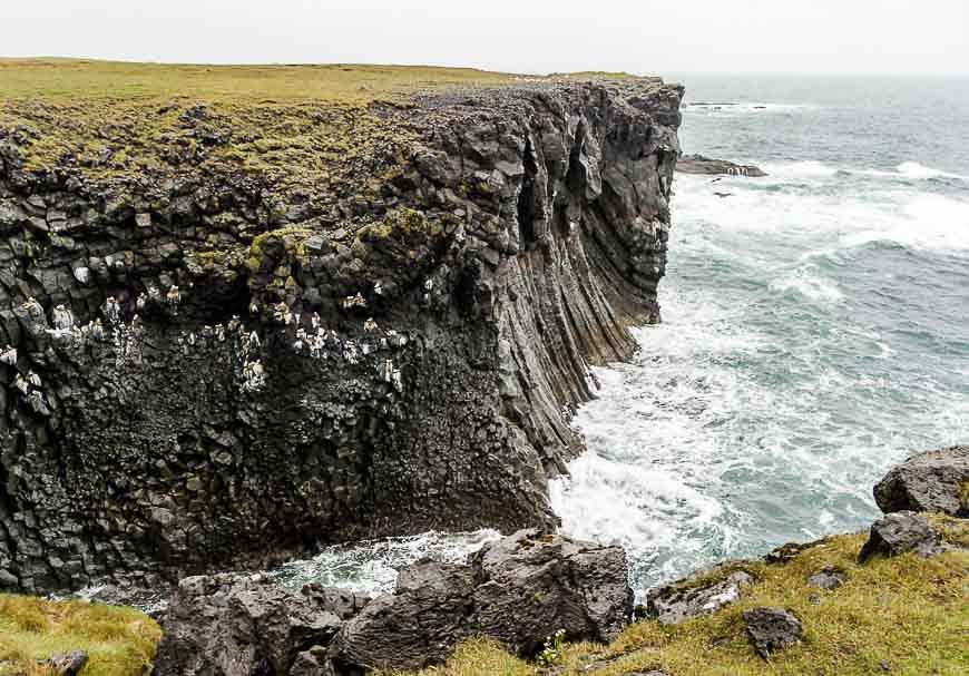 Impressive columnar basalt on a cliffside walk out of Hellnar