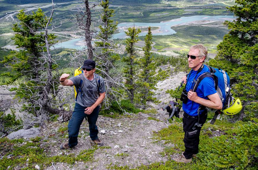 Our guide Joe explaining the route we'll take to get into the canyon in Jasper National Park