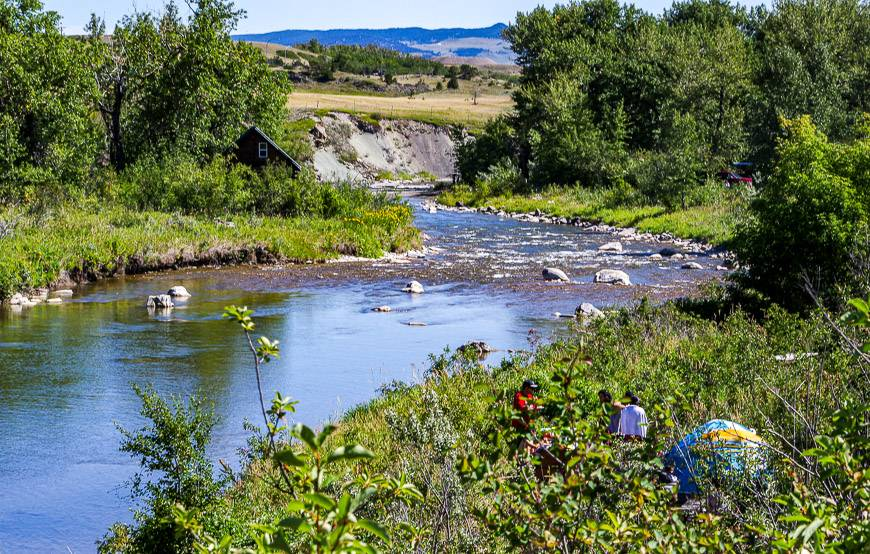 You can camp by the Crowsnest Pass River