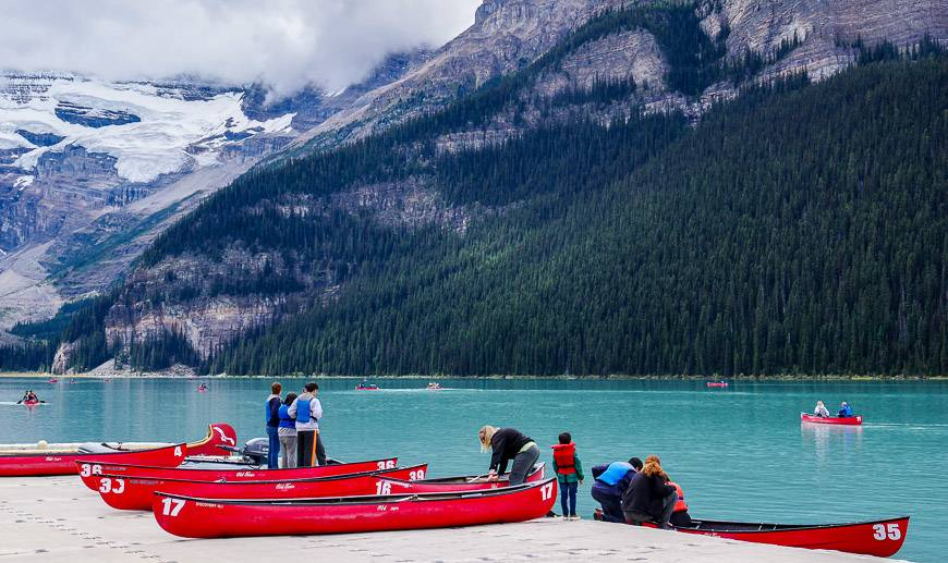 Canoeing on Lake Louise is a fun way to wrap up a day