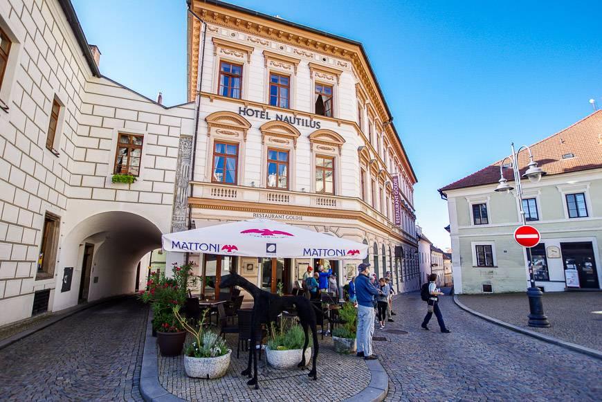 Hotel Nautilus is right on the historic Zizka Square