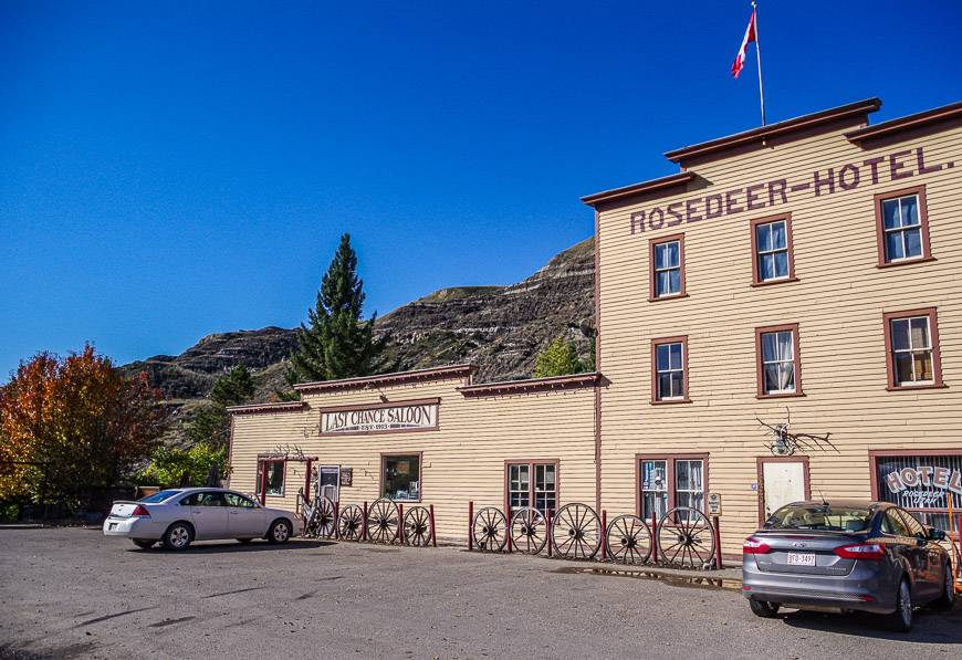 Stay at the Rosedeer Hotel in themed rooms or grab a beer at the Last Chance Saloon