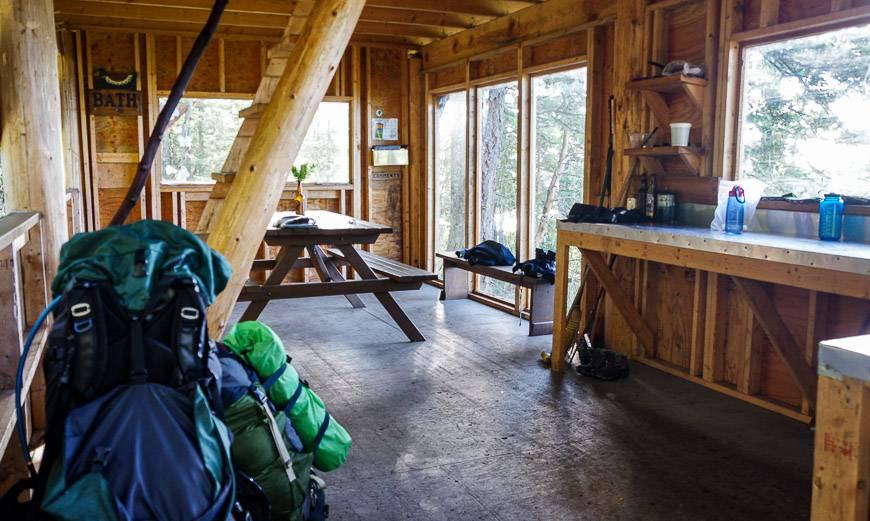 The inside of Manzanita Hut