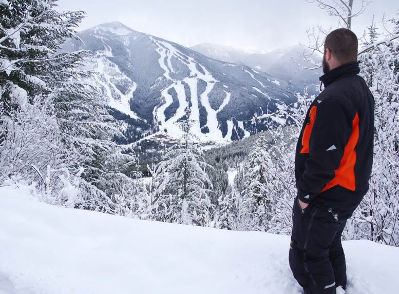 Looking out to Panorama Mountain Resort from a snowmobile trip