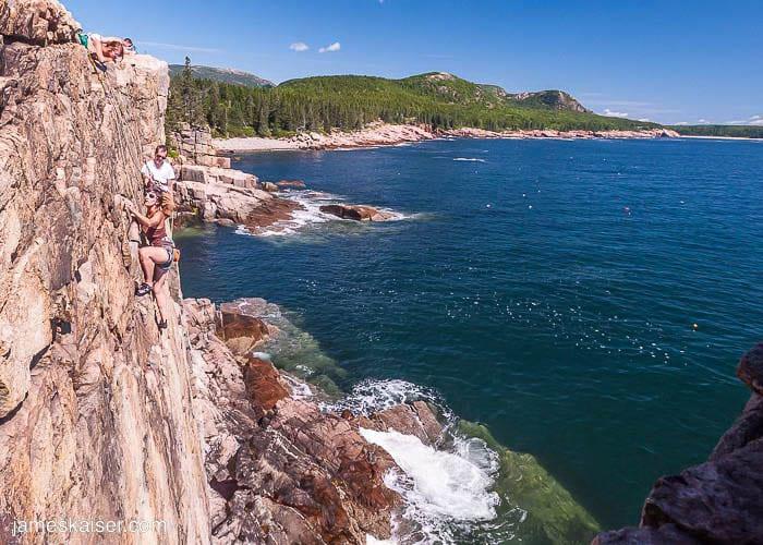 Rock climbing where the mountains meet the sea