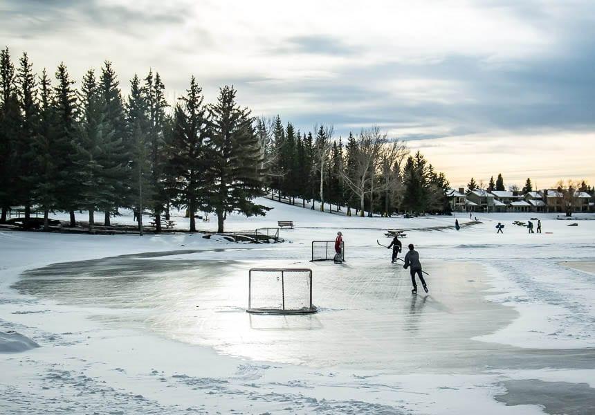 Playing shinny in Calgary