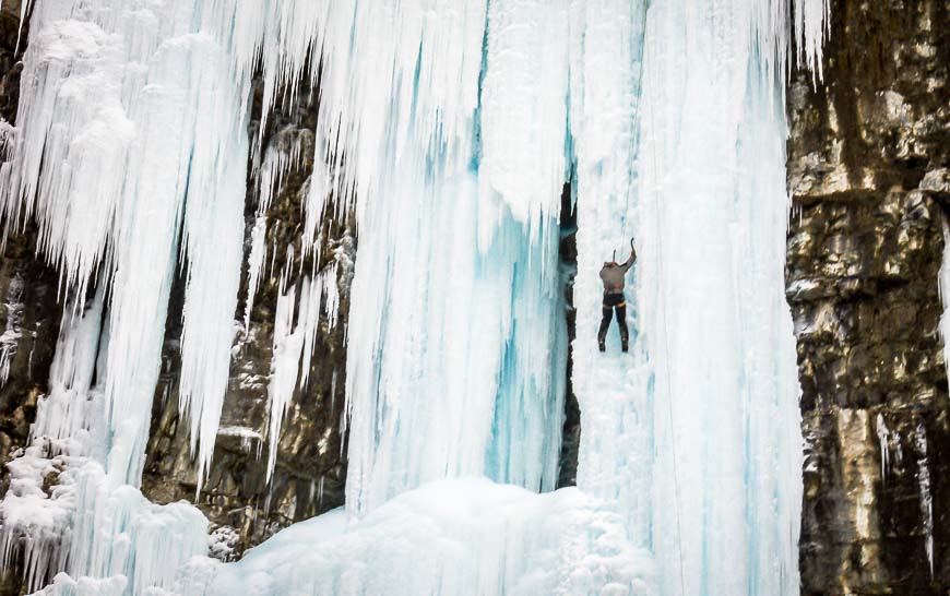 Ice climbing at Johnston Canyon in Banff National Park