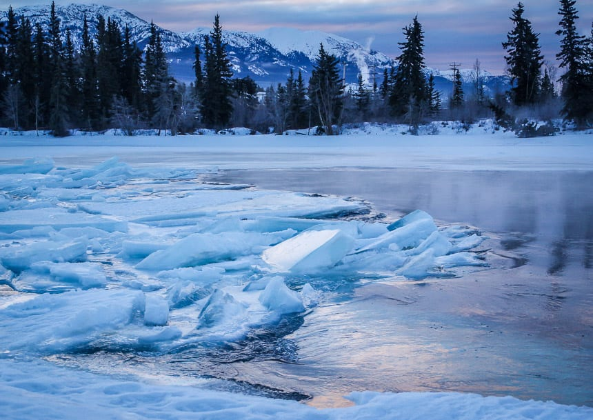 The Yukon River In Whitehorse In Winter