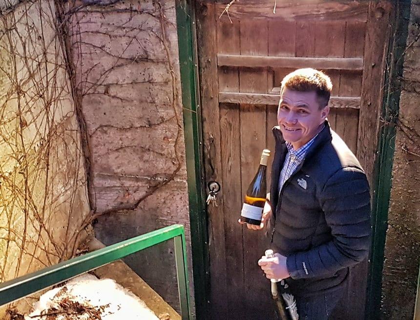 Heading into the underground wine cellar with Greg Elmhirst