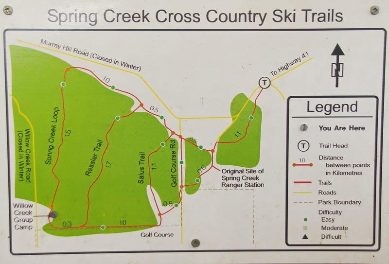 Map of the Spring Creek ski trails - Cypress Hills Interprovincial Park