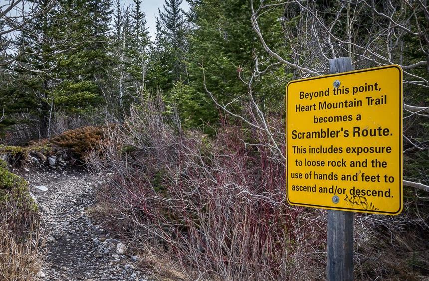 Warning sign before you start climbing Heart Mountain