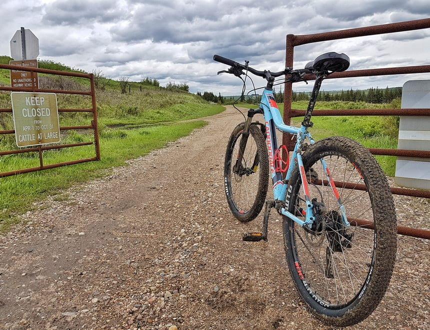 Prepare to get dirty if you bike after a recent rain on the Iron Horse Trail Alberta