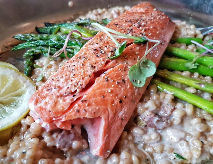 Salmon with barley risotto at the Prestige Oceanfront Inn in Sooke