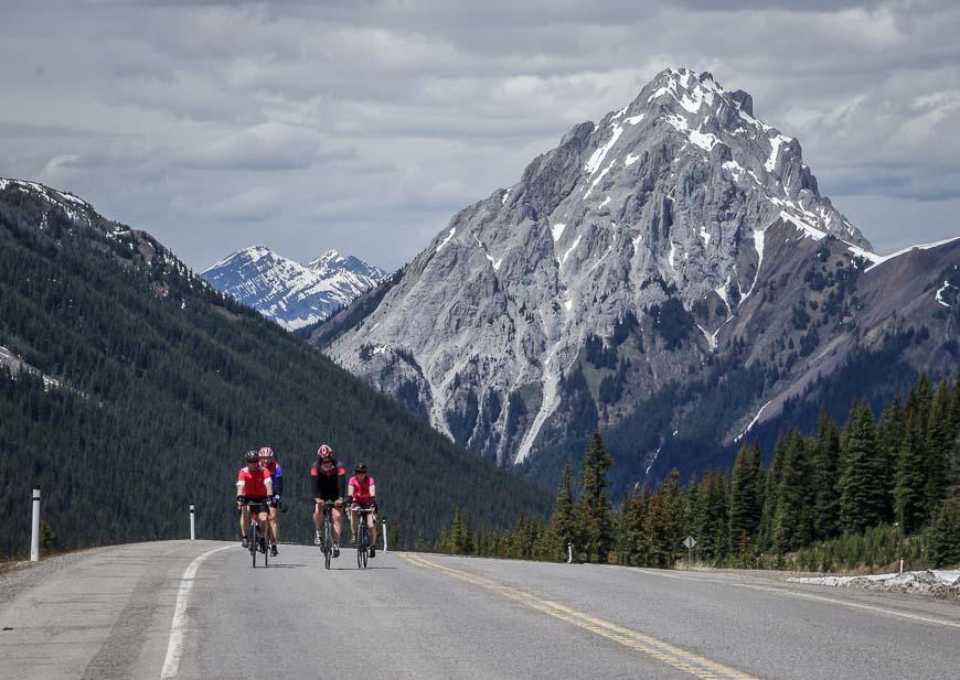 Biking up Highwood Pass