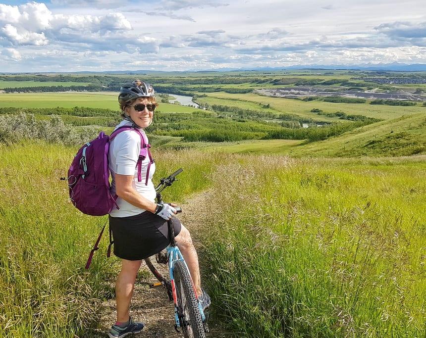 Biking off-road in Glenbow Ranch
