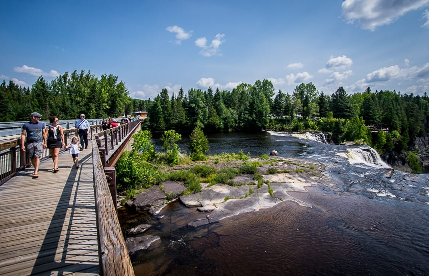 On a summer weekday Kakabeka Falls Provincial Park is quite busy
