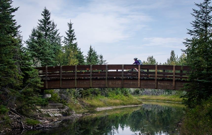 Biking across the Mackenzie Ponds