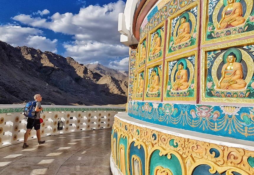 Walking clockwise around the Shanti Stupa in Leh