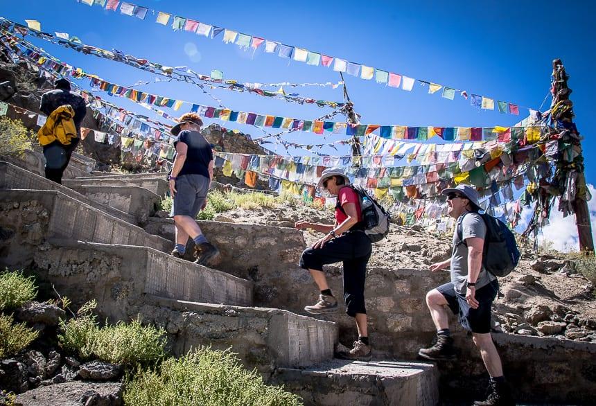 Climbing to the Namgyl Tsemo Monastery