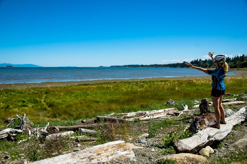 Stop to admire the beautiful beaches near Courtenay on a bike ride