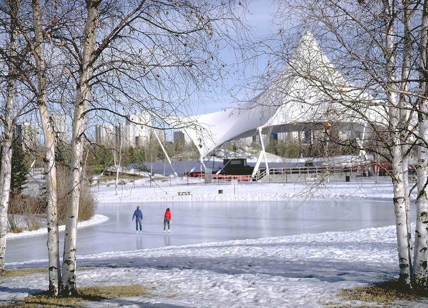 Skating at Hawrelak Park in Edmonton