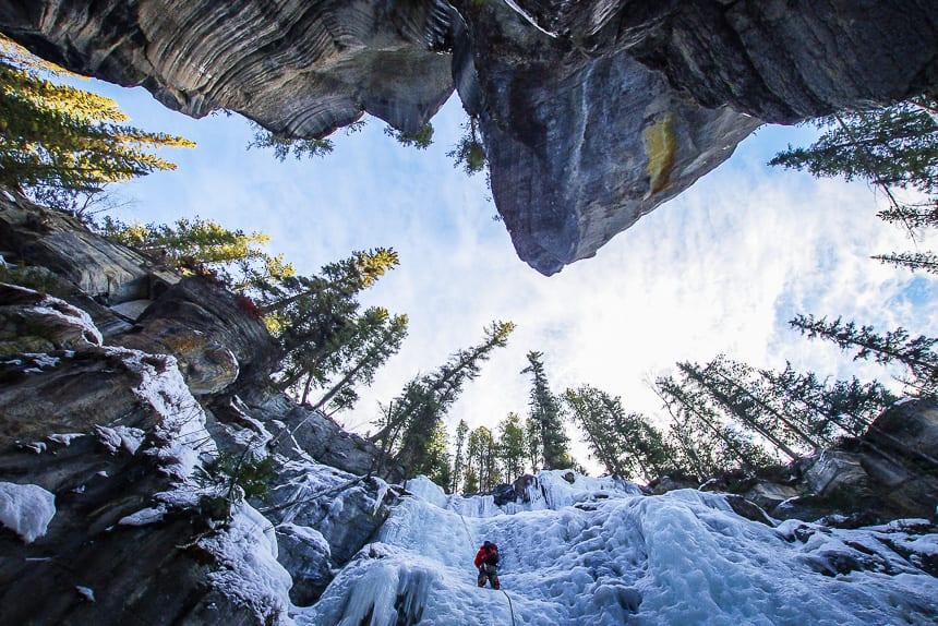 Ice-climbing Maligne Canyon