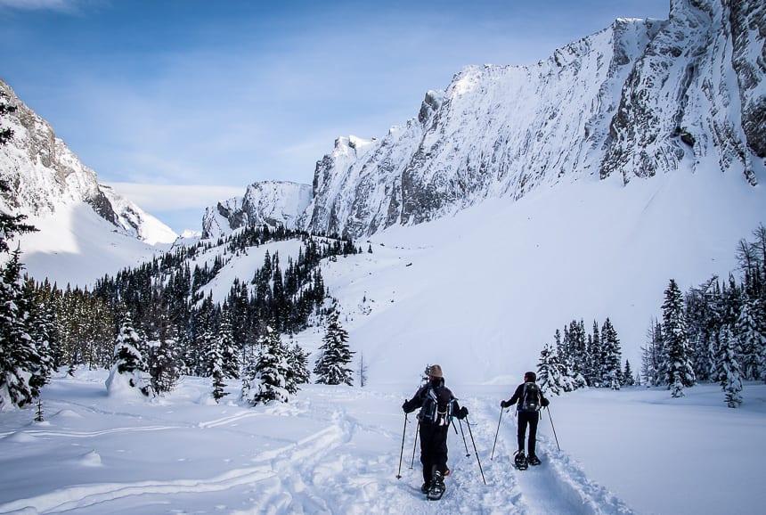 Snowshoeing at Chester Lake in Kananaskis Country