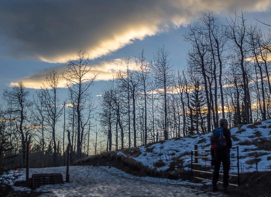 Finishing off the hike at dusk