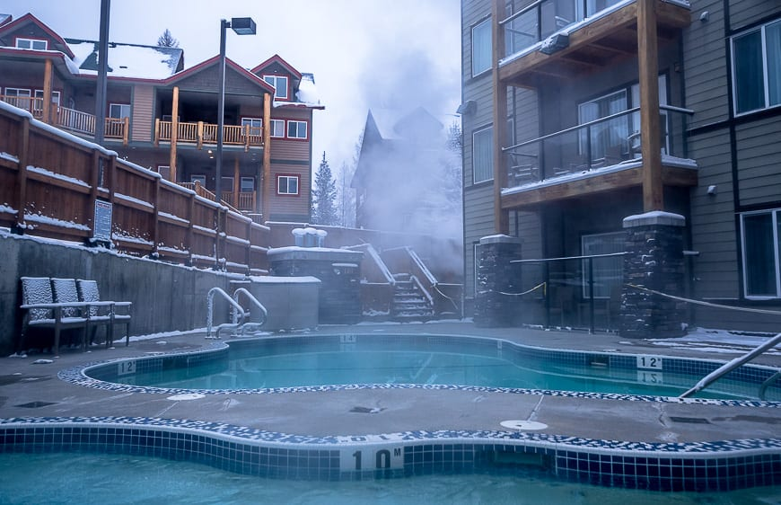 Hit the pool size hot tubs at Mountain Spirit Resort right after skiing