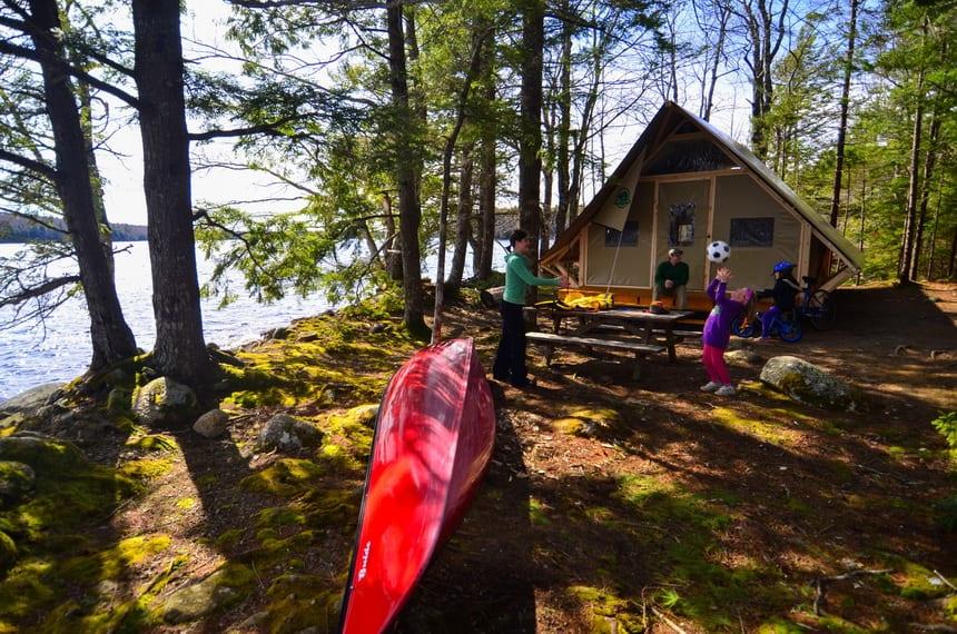 The oTentik village is on the shores of Kejimkujik Lake, Nova Scotia