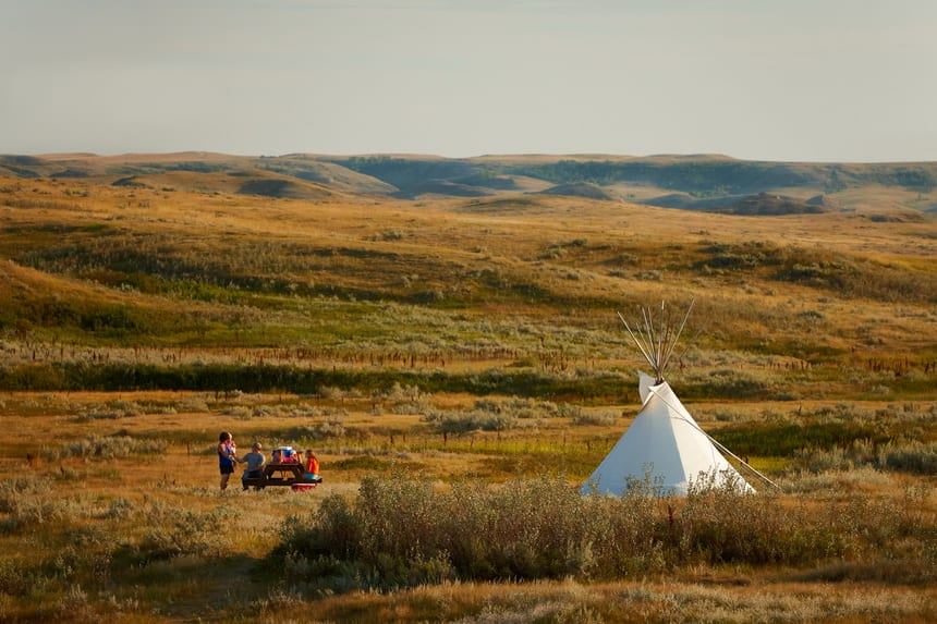 Enjoying the beauty of Grasslands National Park, Saskatchewan while staying in a teepee