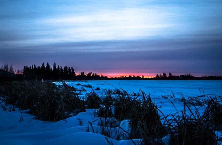 Catch a sunset over Astotin Lake