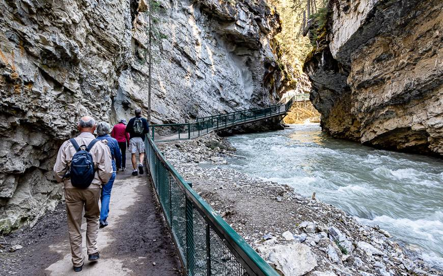 Heading up Johnston Canyon in June