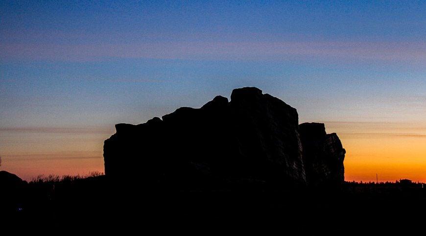 The Okotoks Erratic is beautiful to visit at sunrise