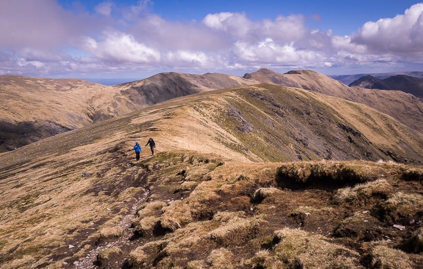 The final climb on the ridge to Mweelrea Mountain