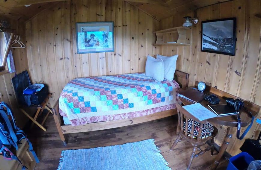 The inside of my cute cabin at Camp Denali