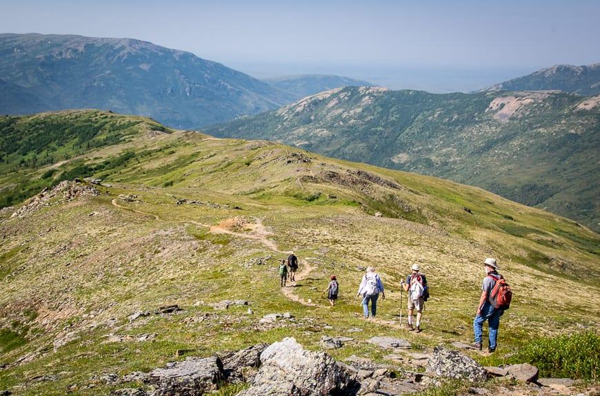 Descending the ridge back to Camp Denali
