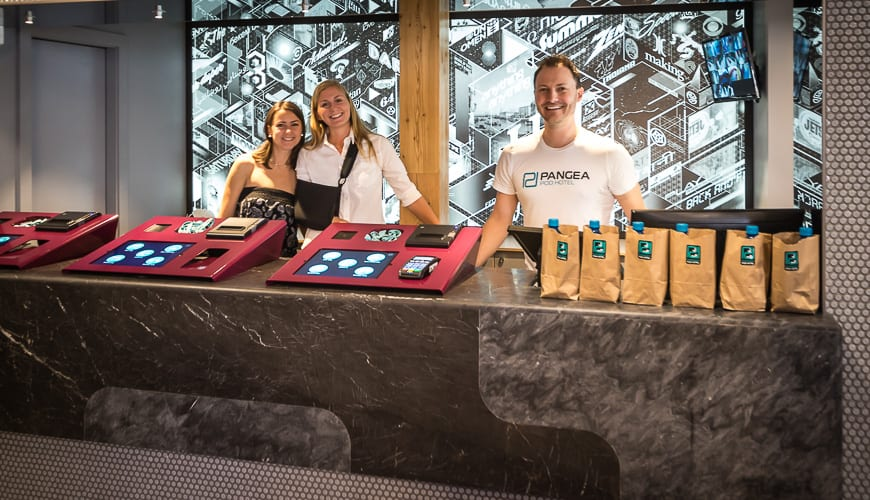 You'll be met by smiling staff and possibly co-owner Jelena King (on the left) at check-in