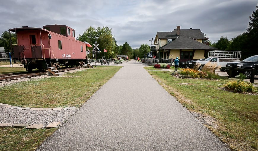 Gare de Labelle is a popular stop for lunch when biking Le Petit Train du Nord