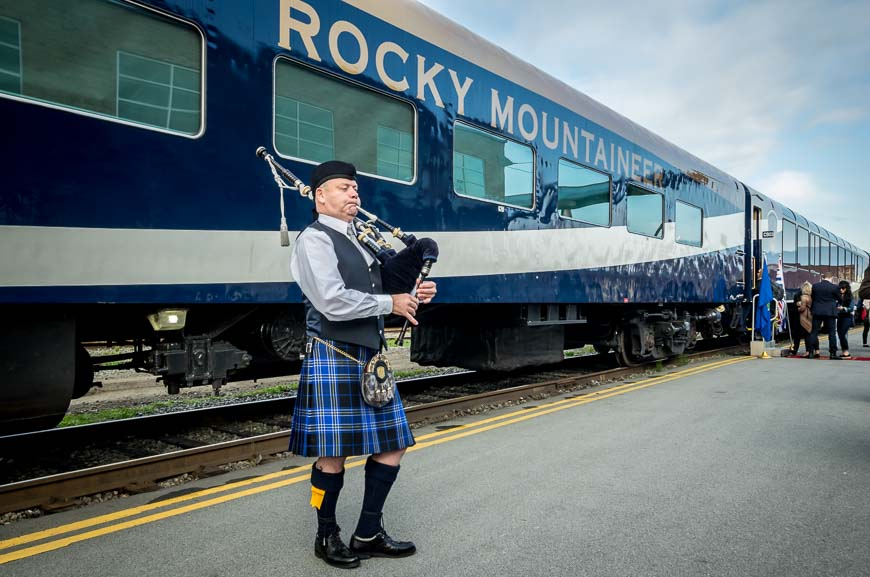 Getting on the Rocky Mountaineer train listening to bagpipe music