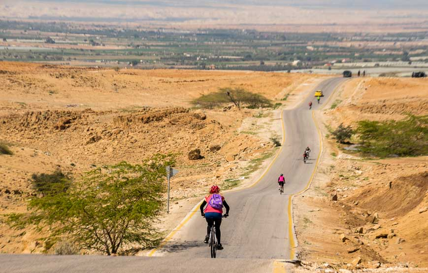 Biking down, down, down towards the Dead Sea