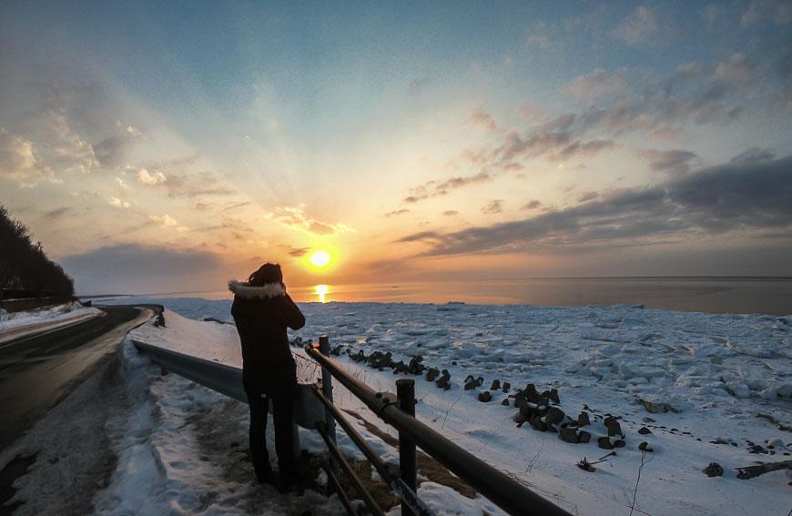 Watching the sun set over the drift ice on the Shiretoko Peninsula