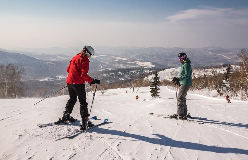 Skiing under sunny skies at Kiroro in Japan