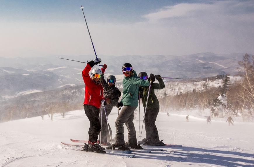 We're a gang of happy ladies skiing