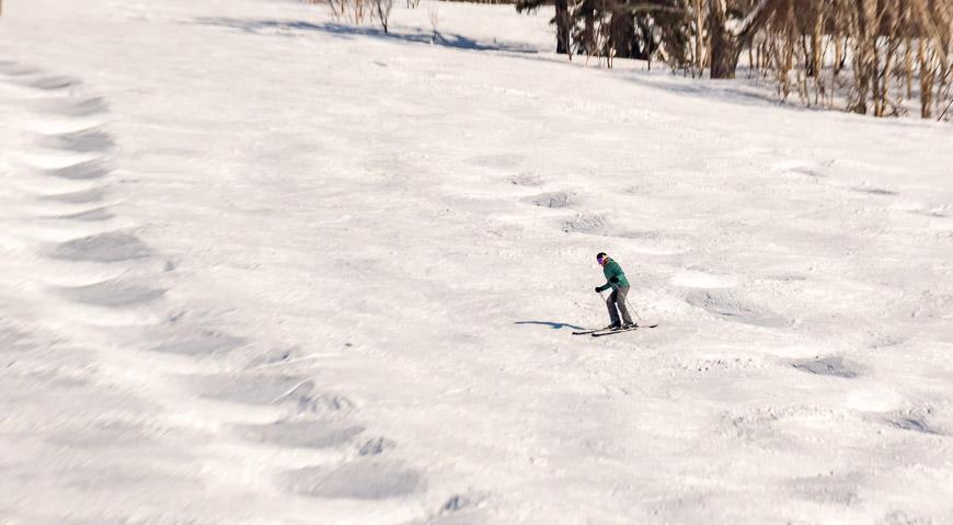 Some of the runs at Kiroro Ski Resort had bump runs between the gentler slopes