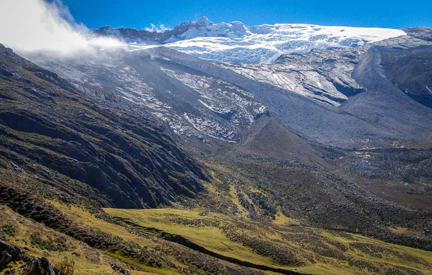 Our last of the close-up glacier views on the Sierra Nevada del Cocuy trek